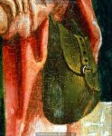 German Pilgrim Scrip 15th cent. Closeup of a period painting-illumination showing a pilgrim scri.jpg